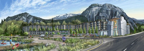 An artist's rendering of the Scott Crescent development, previously called Red Point. On the right is the National Climbing Centre, a 5,000 square feet facility for climbing, and for use by non-profits in Squamish