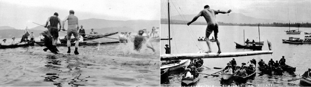 Cowichan Bay Regatta birling and greasy pole events, 1910