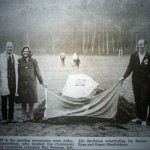 Chair Alice Makowichuk and Centennial Committee members at official opening of Centennial Fields, September  1971
